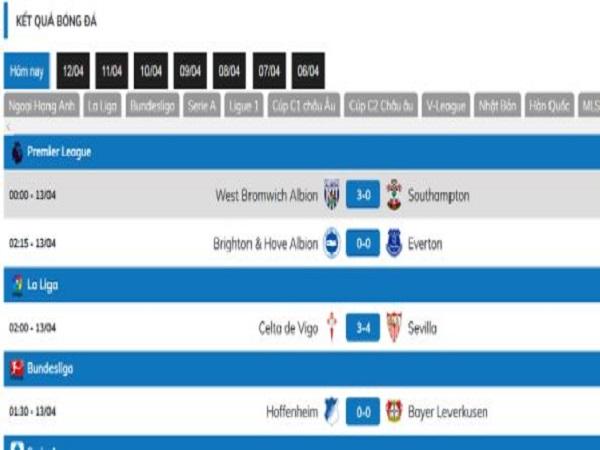Xem kết quả bóng đá trực tuyến ở mitom